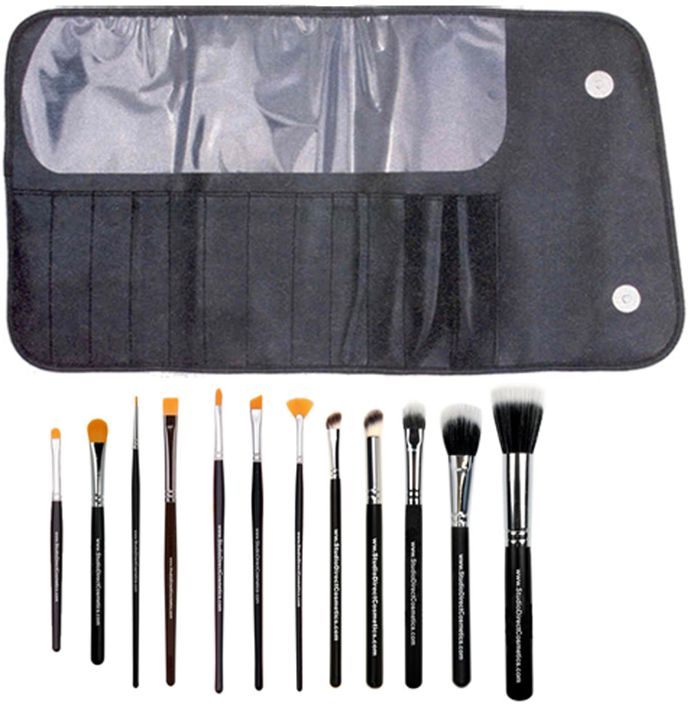 Studio Direct Cosmetics Professional 12 Piece Duo Fibre & Taklon Synthetic Brush Set