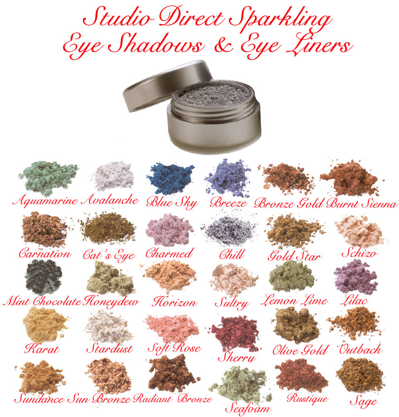 Sparkling Eye Shadows Eye Liners Cosmetic Makeup Color Selection Chart