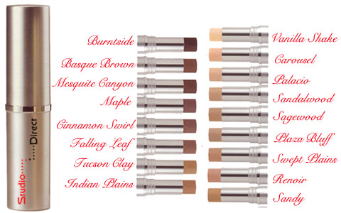 Click to Enlarge Studio Direct Multi-Purpose Foundation & Concealer Stick w SPF 18 Color Selection Chart