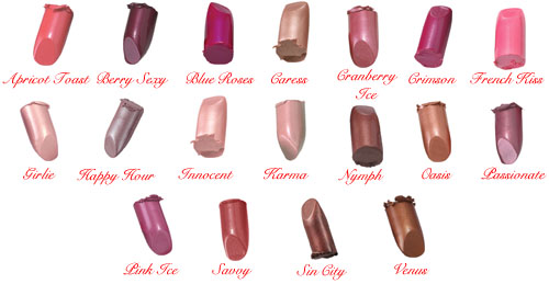 Studio Direct Pearl Lipstick Color Selection Chart